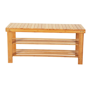 Bamboo Wood Shoe Rack Bench or Shoe Organizer,3-Tier Storage Shelf Holds Up,ideal for Entryway Hallway Bathroom Living Room and Corridor
