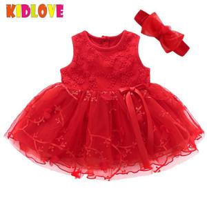 Kidlove Mädchen Neugeborenes Baby-Kleid Ärmel Nettogarn Bowknotkleid elegante runden Kragen-Prinzessin Dress + Stirnband Hochzeit