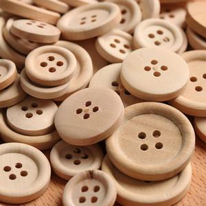 100pcs / lot 혼합 나무 단추 자연 색상 라운드 4- 구멍 바느질 Scrapbooking DIY 버튼 바느질 액세서리 도매 가격