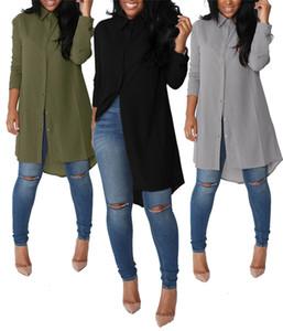 2018 Primavera Otoño Blusa Mujer Camisa Tops de manga larga y suelta ajuste Chiffon Top Camisa casual para damas