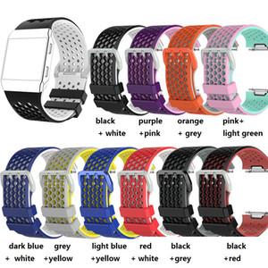 Hexagon für Fitbit ionische hybride Handgelenk-Wearables TPE Silikon-Bügel-Band-Uhr Ersatzband-Edelstahlverbinder 100P