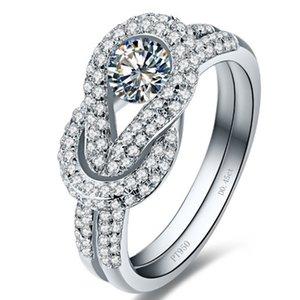 Super luxe en argent Sterling femmes Party Ring 0.45Ct diamants synthétiques Bague Bague de Fiançailles Or Blanc Couleur Proposition Fille