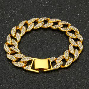 I monili cubani dei braccialetti del Rhinestone di Hip Hop di lusso dei braccialetti cubani di Bling degli uomini dei braccialetti cubani di 15mm liberano il trasporto