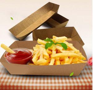 Plateau de nourriture en carton Hot Dog French Fries Plats Plats Boîte d'emballage alimentaire Vaisselle jetable Vaisselle