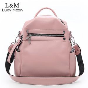 Luxy moon мягкий PU кожаный рюкзак женщины многофункциональный сумка девочек-подростков школьная сумка твердые дорожные сумки XA402H