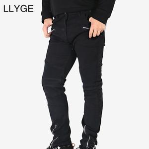 LLYGE 2018 Primavera Homens Jeans Slim Fit Hip Hop Strech Jeans Homens Jeans Plissado Moto Motociclista Perna Abertura Dropshipping