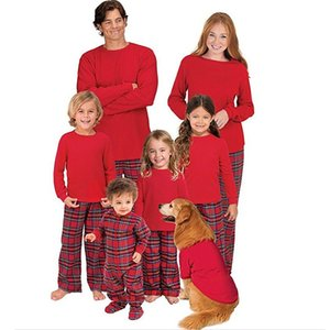 Family Matching Outfits Baby Kids Clothing Christmas Boutique Clothes Paternity Suit Pajamas Long Sleeves Solid Red Color Plaid