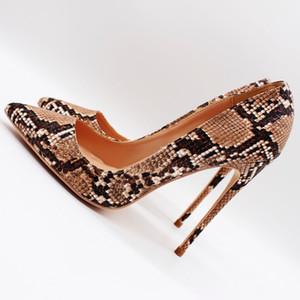 blingbling scarpe donna tacchi a spillo tacchi a spillo pitone marrone chiaro punta punta sexy tacco alto pompe partito scarpe da sposa 12 cm 10 cm 8 cm