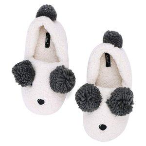Chinelos de lã quentes interior das mulheres Chinelos de urso branco de algodão Chinelos confortáveis Chinelos de meninas inverno dos desenhos animados Soft Bottoms Non-Slip