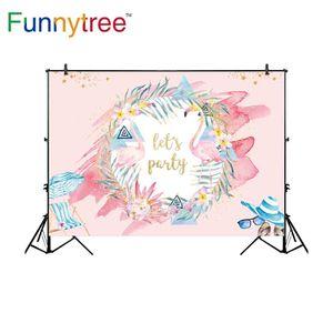 Toptan fotoğraf stüdyosu arka Flamingo tema pembe parti için tropikal tatil backdrop photobooth photocall fotoğraf prop