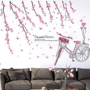 [SHIJUEHEZI] Pink Peach Flower Wall Stickers PVC Material DIY Tree Branch Bike Wall Decals for Living Room Bedroom Decoration