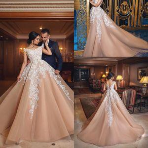 로맨틱 오프 샹파뉴 이브닝 드레스 중동 아랍어 볼 가운 레이스 업 2018 Vestido de novia Bridal Gowns Custom Made