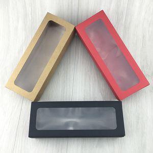 Коричневый / красный / черный крафт-бумага ящик типа Macaron подарочная коробка картон прозрачный ПВХ окно печенье шоколад упаковка коробки