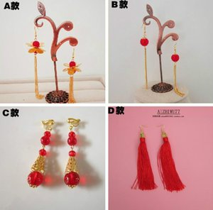 Bridal accessories, Chinese dress, Tang costume accessories, red earrings, Butterfly Pearl Wedding Photo Earrings Ear Hook ear clip