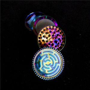 50mm Rainbow Maze Herb Grinders 3Layer Tobacco Grinder Barato Grinder Clipper Grinder