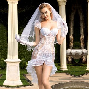 Nueva Pornografía Mujeres Lencería Sexy Hot Erotic Vestido de Novia Cosplay White Tenue Ropa Interior Atractiva Ropa Interior Erótica Porno Disfraces 6325
