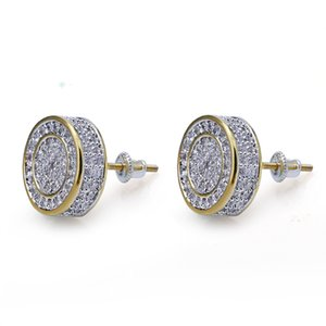High Quality Men HipHop Full Cubic Zirconia Round Stud Earrings Copper Paved Cz Earring Punk Jewelry for Male