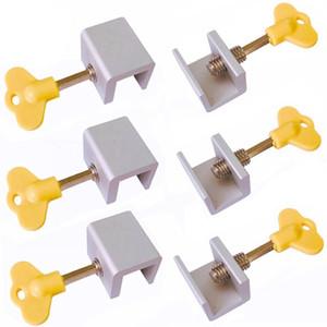 6 штук регулируемые раздвижные оконные замки останавливает алюминиевого сплава дверная рама замок безопасности с ключами