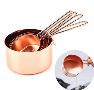 Outils de mesure d'acier inoxydable de tasse de mesure d'or 4pcs / set réglés pour le sucre de café faisant cuire l'outil de cuisine