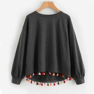 Art und Weise bunter Troddel-Ordnungs-Bad-Rand melierter Pullover-grauer langer Hülsen-beiläufiger Sweatshirt-Pullover der Herbst-Frauen heißer Verkaufs-Hoodie