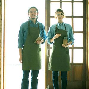 Neues Design Senior Green Canvas Schürze Lätzchen Lederbänder Küchenschürze Für Frauen Männer Kochen Restaurant Kellnerin