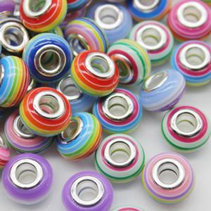 도매 100 조각 믹스 스트라이프 대형 구멍 비즈 아크릴 보석에 대한 매력 유럽 매력 팔찌