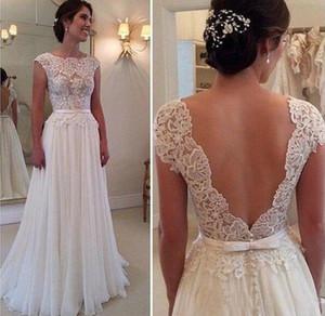 Einfache 2017 Beach Wedding Dress Spitze Top Cap Sleeves Durchschauen Neck V Zurück Covered Button Eine Linie Brautkleid Brautjungfer Kleid