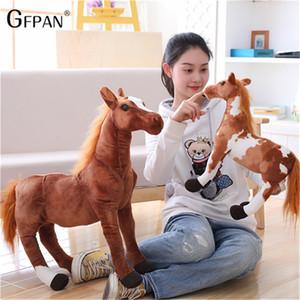 Dev 60-75 cm Simülasyon At Peluş Oyuncaklar Sevimli Dolması Hayvan Doll Yumuşak Gerçekçi At Oyuncak Çocuklar Doğum Günü Hediye Ev Dekorasyon