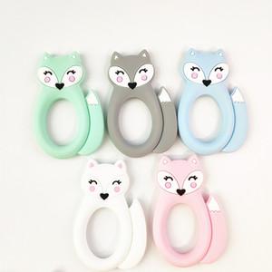 Большой силиконовый Fox Прорезыватель Зубные Детские игрушки BPA Free Safe Soft Silicone животных Chew Бисер Пустышки кормящих ребенка режутся зубы игрушки