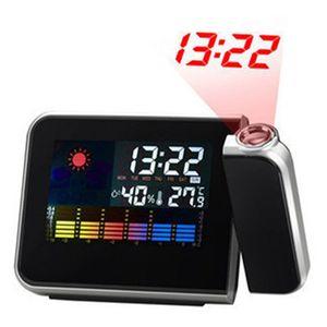 1PC-Platz-Farben-Schirm-Wecker-Digital-Hintergrundbeleuchtung LED-Hintergrundbeleuchtung Weather Report Schwarz Projection Display