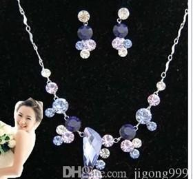 chaming purple diamond crystal birde set lady's necklace earings ghf
