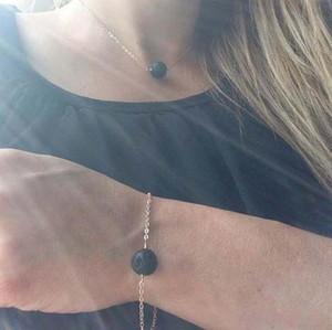Simple Style Lavastein Perlen Halskette Armband Damenmode Naturstein Halsketten Aromatherapie Ätherisches Öl Diffusor Edlen Schmuck
