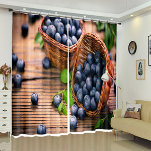 2018 New Office 3D Blackout Window Curtains Modern Style Purple Grape Fruits Pattern Polyester Bedroom Curtains for Living Room