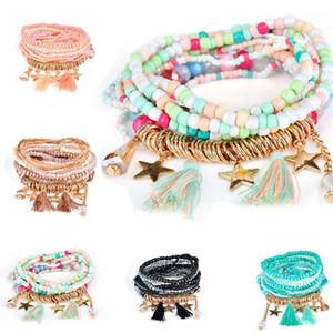 Multicamadas Semente contas borla cinco estrelas Pulseiras Bangles Strand estiramento Friendship Bracelet por Mulheres hip hop navio queda de jóias