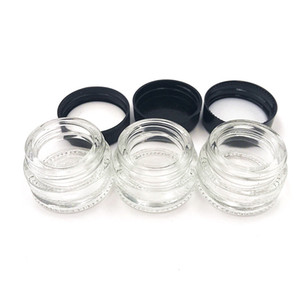 contenedor de vidrio al por mayor de la cera 5ml barato botella vacía con tapas negras para el envío libre de DHL Lenguados Cosméticos