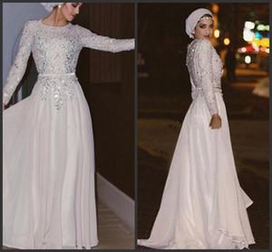 Pırıltılı Uzun Kollu Müslüman Abiye ışıldamaya Kristal şifon Floor Uzunluk Gümüş Beyaz Gelinlik Modelleri Arapça Abaya Parti Elbise 432