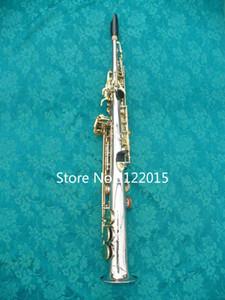 MARGEWATE латунь прямая труба посеребренная корпус золотой ключ Сопрано Б (Б) саксофон саксофон инструменты с футляром, мундштук