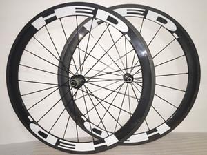 50mm HED blanca ruedas de bicicleta del carbón del remachador 700C marco de juego de ruedas 3K brillante / mate 3K / UD Mate