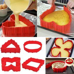 4 Pcs / set Silicone ustensiles de cuisson Magique Serpent moule à cake DIY Cuire carré rectangulaire Forme de Coeur Rond moule à cake outils b932