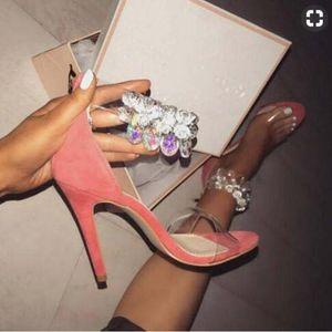 2018 sexy sandalias de tacón delgado mujeres sandalias de correa de tobillo zapatos de fiesta de PVC diamante poste sandalias de gladiador sandalias de boda del partido del partido tacones altos