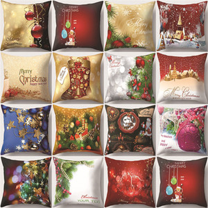 Merry Christmas Peack Skin Pillow Case Christmas Tree Socks Bells Pattern Pillow Cover Sofa Case
