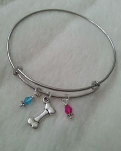 Vintage Silver Lover Dog Bone Crystal Beads Charms Ampliable pulsera de alambre brazalete de la boda brazaletes para mujer regalo de la joyería NUEVOS accesorios