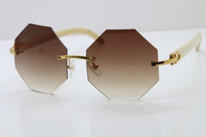 Free Shipping Rimless Sunglasses Metal with White Buffalo Horn Sunglasses Unisex vintage 4189706 Glasses with Red box C Decoration gold fram