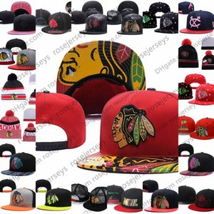 Chicago Blackhawks Ice Hockey malha Gorros Bordados ajustável Boné Snapback Caps Black Red White Grey costurado Hats One Size