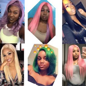 Farbe Lace Front Echthaar Perücken für schwarze Frauen Brasilianische Perücken Remy Gerade Blau Orange Lila Honig Blonde Perücken PrePlucked mit Baby-Haar