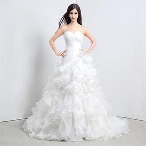 Özel Boyut Beyaz Zarif Elbiseler Fırfır Sevgiliye Bir Çizgi Organze Kat Uzunluk Uzun Düğün Gelin Kadınlar Gelinlikler DH4204