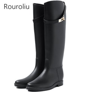 Rouroliu женщины резиновые сапоги дождь мотоцикл до колен Rainboots пряжки водонепроницаемая вода обувь женщина Wellies сапоги TS132