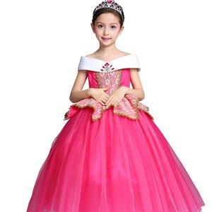 2-12Y Noel roseo Çocuk Prenses Uyku Güzellik Elbise Çocuk Kız Aurora Uzun Elbiseler Bebek Elbisesi Uzun Parti Kostümleri Çocuk Giyim