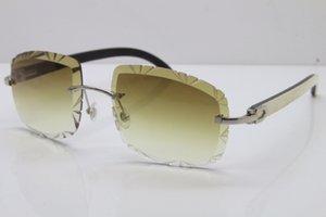 Белый доставка Солнцезащитные очки Очки Self-Made Vintage Free Horn ВС черный T8200762 Резные объектива Солнцезащитные очки без оправы Buffalo Unisex Внутри Oiijj