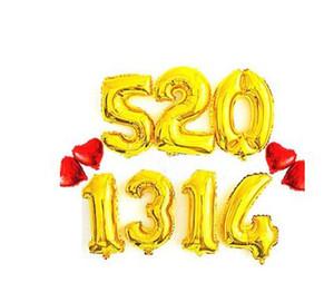 Or Argent Nombre Aluminium Feuille Ballons Lettres Hélium Ballons Anniversaire Décoration De Mariage Air Balloon Party Fournitures